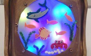 upcycled porthole fish night light, crafts, how to, lighting, repurpose household items, Porthole Fish Nightlight
