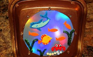 upcycled porthole fish night light, crafts, how to, lighting, repurpose household items