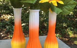 candy corn vases, crafts, how to, painting, seasonal holiday decor