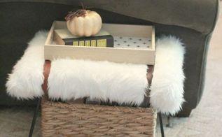 diy fur stool, crafts, how to, reupholster