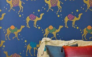 how to stencil metallic moroccan camel wallpaper patterns, diy, home decor, how to, painting, wall decor