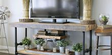 reclaimed wood black pipe tv stand, crafts, entertainment rec rooms, how to, living room ideas