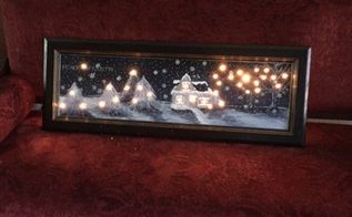 christmas scene with lights using an old kitchen cabinet door , crafts, doors, kitchen cabinets, lighting, painting