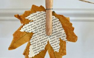 fall banner with book page leaves, crafts, fireplaces mantels, seasonal holiday decor