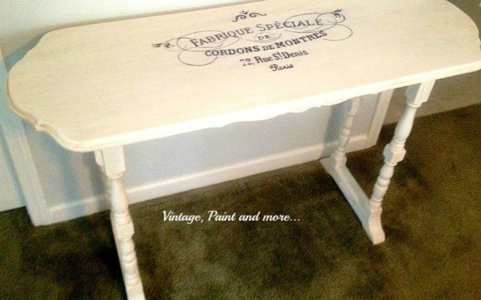 s 12 wildly creative ways to use your old sewing table, painted furniture, Stencil it with calligraphy