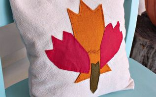 fall themed maple leaf appliqu d pillow made from fabric scraps , crafts, how to, seasonal holiday decor, reupholster
