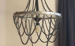 bicycle wheel and chain chandelier, crafts, how to, lighting, repurposing upcycling