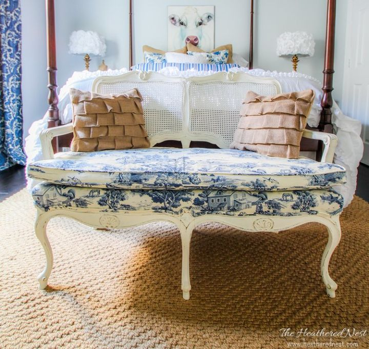 loveseat toile fabric makeover bedroom ideas dining room ideas home decor painted
