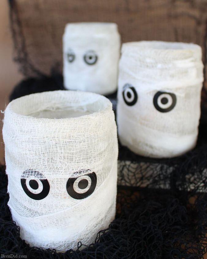 easy homemade mummy luminary for halloween crafts halloween decorations seasonal holiday decor