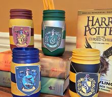harry potter painted mason jar pencil holders, crafts, mason jars