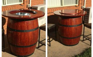 how to make a wine barrel table with built in wine bucket, how to, repurposing upcycling, Wine Barrel Table