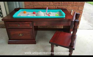 unique sandpit desk, how to, outdoor furniture, painted furniture, repurposing upcycling, woodworking projects, Sandpit Desk