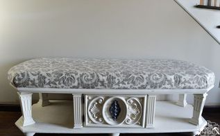 old coffee table to upholstered entry bench, painted furniture, repurposing upcycling, shabby chic
