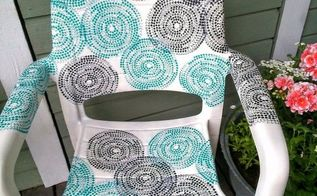 garden chair covered with ikea napkins, decoupage, outdoor furniture