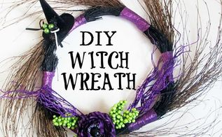 diy witch wreath decoration, crafts, halloween decorations, seasonal holiday decor, wreaths