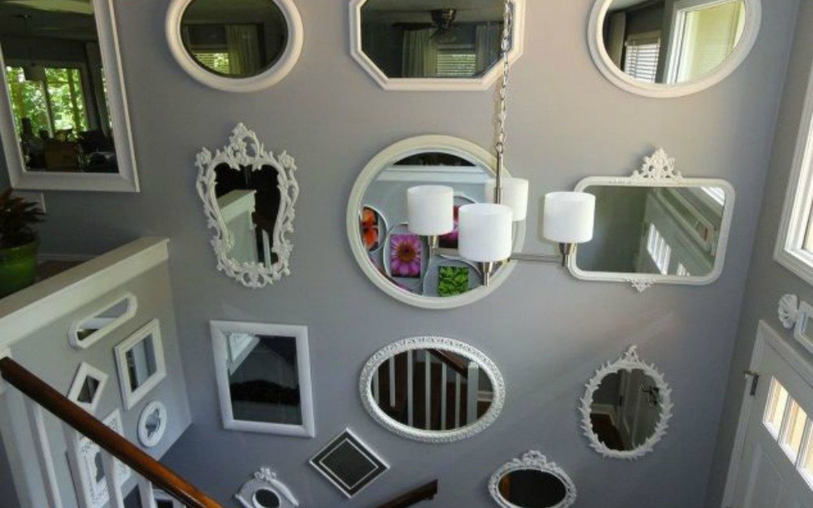 Different Shaped Mirrors if your stairway walls are empty, here's what you're missing