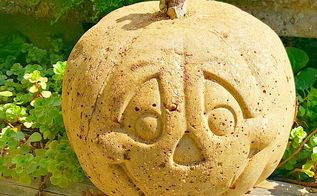 how to make hypertufa pumpkins, crafts, halloween decorations, how to, One side is Jack O Lantern