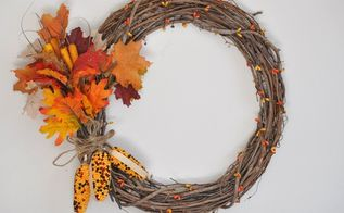 easy and quick diy fall wreath, crafts, how to, seasonal holiday decor, wreaths