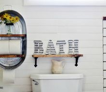 diy farmhouse style washtub shelf, bathroom ideas, how to, organizing, repurposing upcycling, shelving ideas
