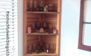 bi fold doors turned corner shelf, doors, how to, organizing, repurposing upcycling, shelving ideas, woodworking projects