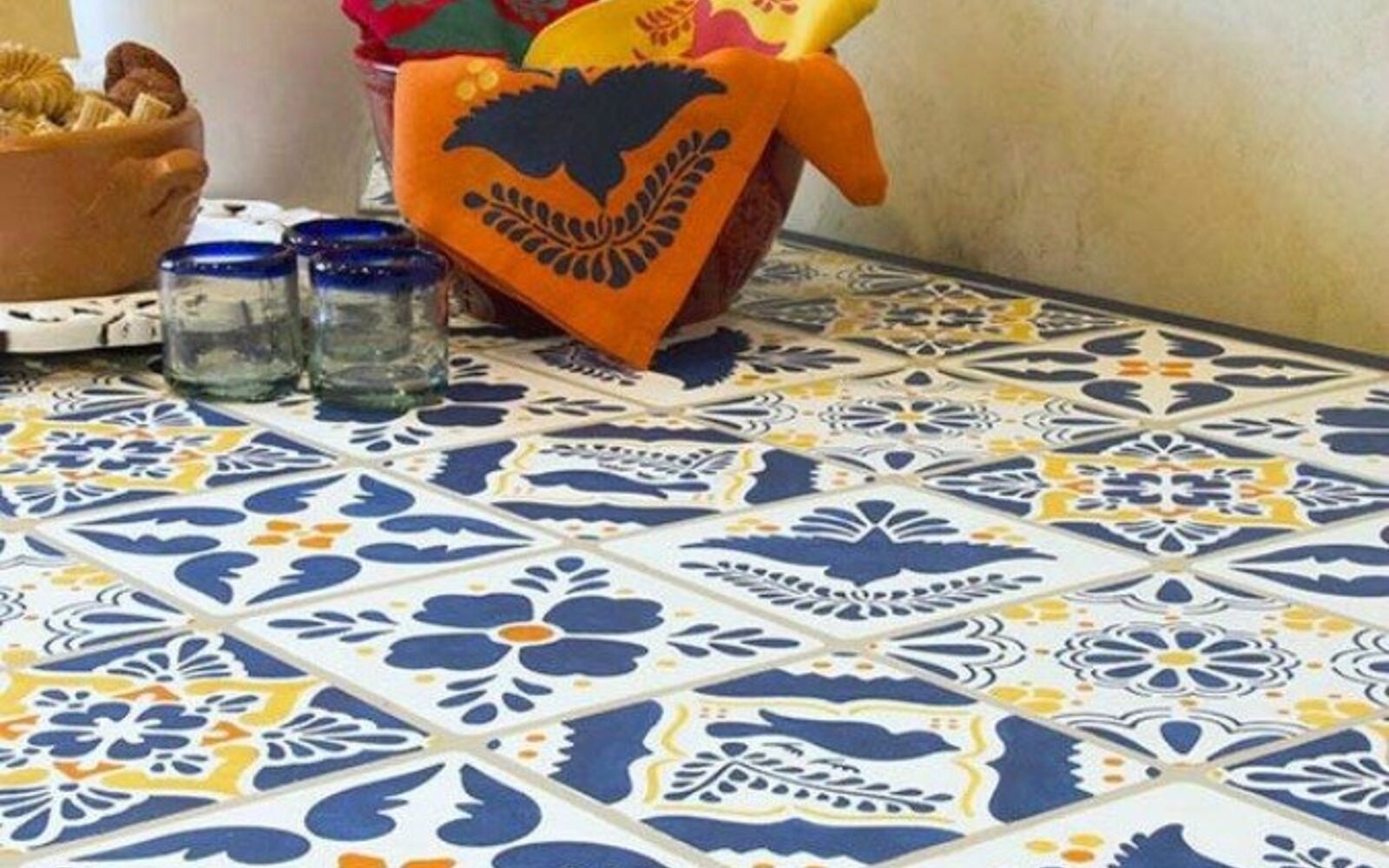 s 14 glamorous ways to upgrade your home using stencils, home decor, Give your kitchen table a Mexican vibe