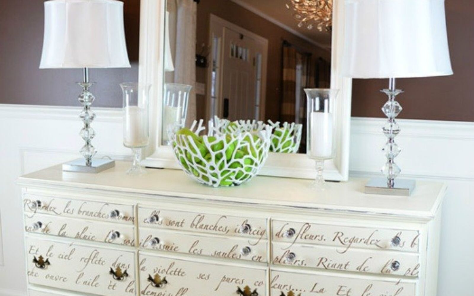 s 14 glamorous ways to upgrade your home using stencils, home decor, Transform your dresser into a work of art