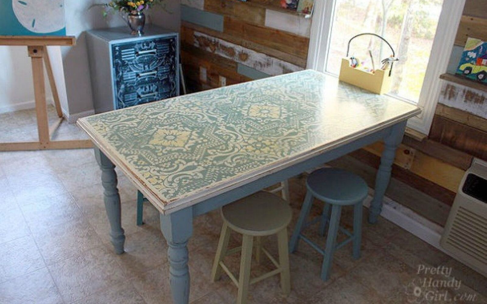s 14 glamorous ways to upgrade your home using stencils, home decor, Turn a dumpster table into a farmhouse beauty