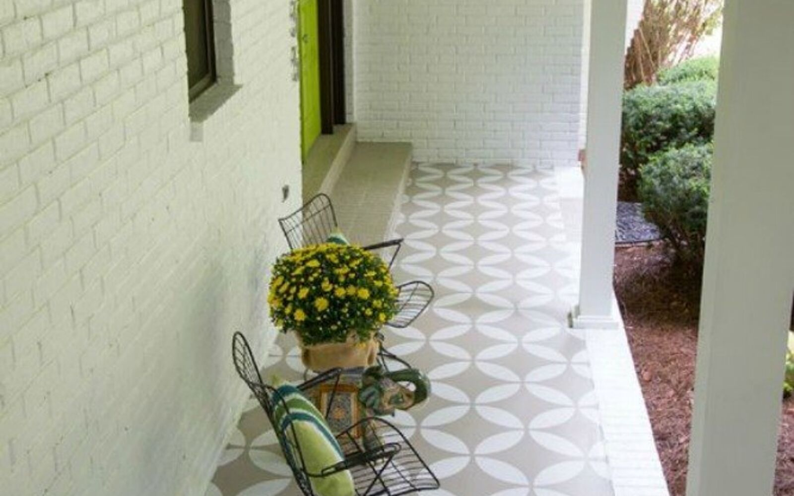 s 14 glamorous ways to upgrade your home using stencils, home decor, Add curb appeal with a new porch floor