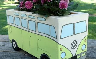 flower power painted wood bus planter, container gardening, crafts, gardening, how to, painted furniture, woodworking projects