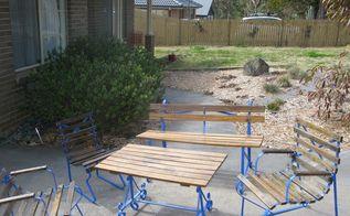 vintage garden furniture makeover, painted furniture, After Photo
