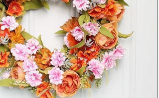 upcycle your wreath into a fall wreath , crafts, halloween decorations, home decor, seasonal holiday decor, wreaths