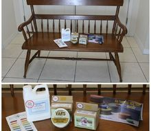 vintage 1960 ethan allen bench old fashioned milk paint, outdoor furniture, painting