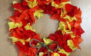 diy tissue paper fall wreath, crafts, seasonal holiday decor, wreaths