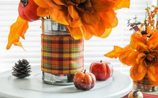 fall decorating recycled tin cans, crafts, repurposing upcycling, seasonal holiday decor