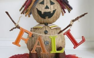 diy twine scarecrow decoration for fall, crafts, fireplaces mantels, halloween decorations, seasonal holiday decor, thanksgiving decorations