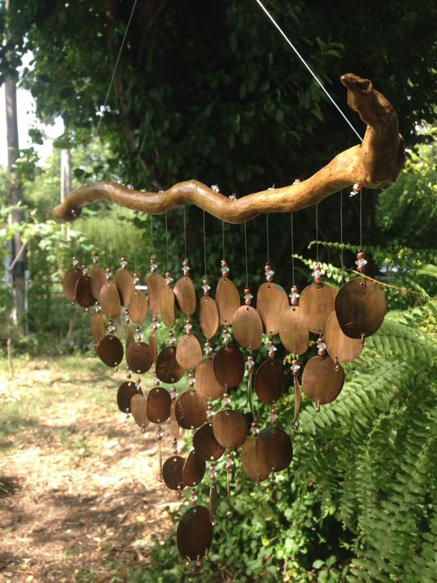 How to make pressed copper penny wind chimes hometalk for How to make a simple wind chime