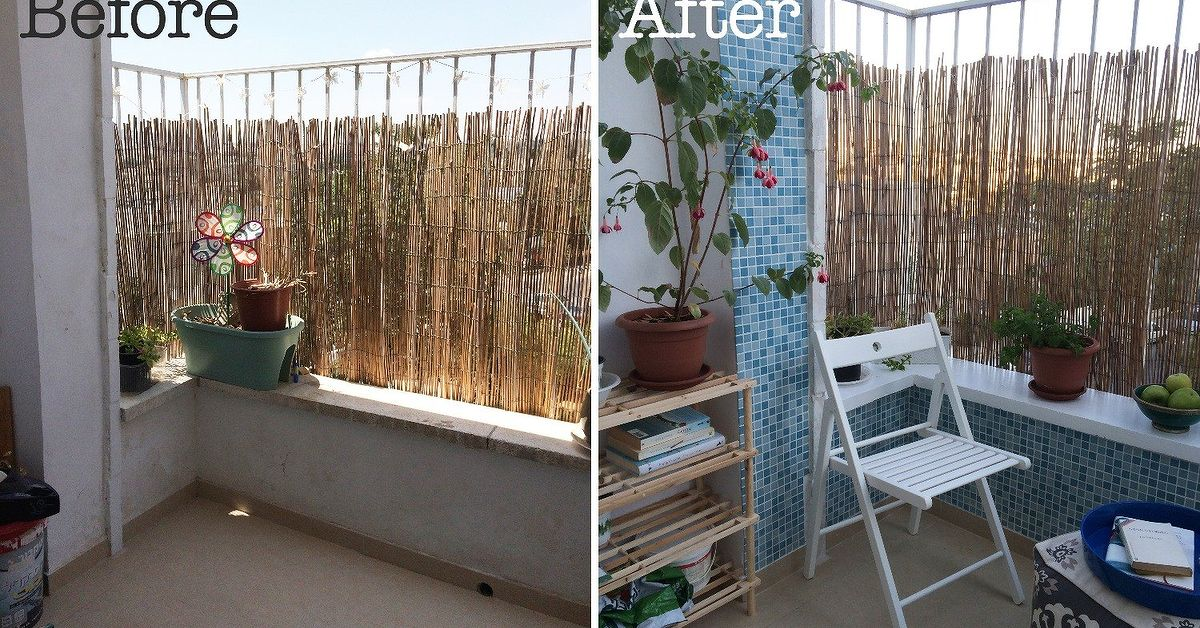 Teeny tiny balcony makeover on a budget hometalk for Balcony makeover