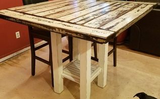 reclaimed wood bar height farmhouse table, dining room ideas, kitchen design, painted furniture, rustic furniture