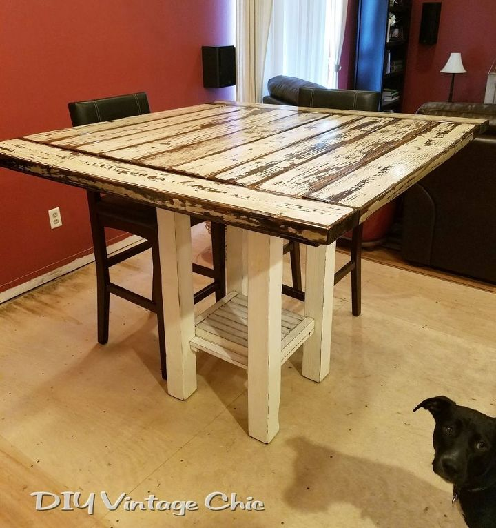 Reclaimed wood bar height farmhouse table hometalk for Reclaimed wood table designs