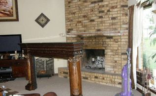 revamp an ugly brick fireplace no paint, concrete masonry, fireplaces mantels
