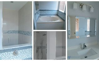 Before and after grey and white traditional bathroom makeover hometalk - Maximizing space in a small bathroom collection ...