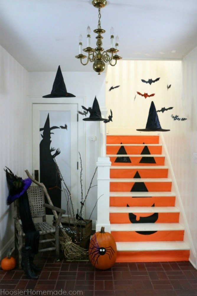 decorate your stairs into a jack o lantern - How To Decorate Your Room For Halloween