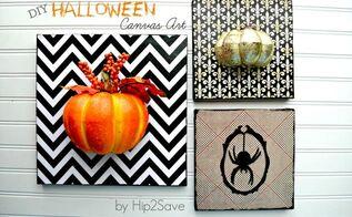 diy halloween thanksgiving canvas art, crafts, halloween decorations, seasonal holiday decor