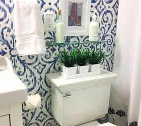 Blue White Bathroom Makeover, Bathroom Ideas, Home Decor, Home Improvement