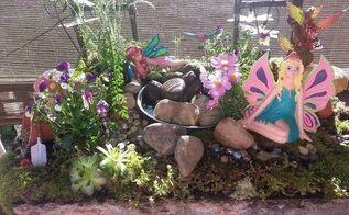 front porch fairy garden water feature, gardening, ponds water features