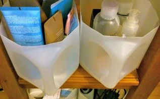 storage containers from plastic canisters , organizing, repurpose household items, storage ideas