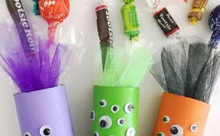 halloween monster candy tube craft, crafts, halloween decorations, seasonal holiday decor