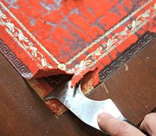removing damaged leather from a desk, painted furniture