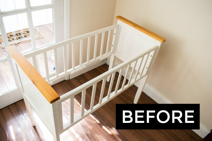 turn a crib baby cot into a bench hometalk. Black Bedroom Furniture Sets. Home Design Ideas