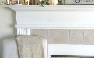 simple neutral fall mantel, fireplaces mantels